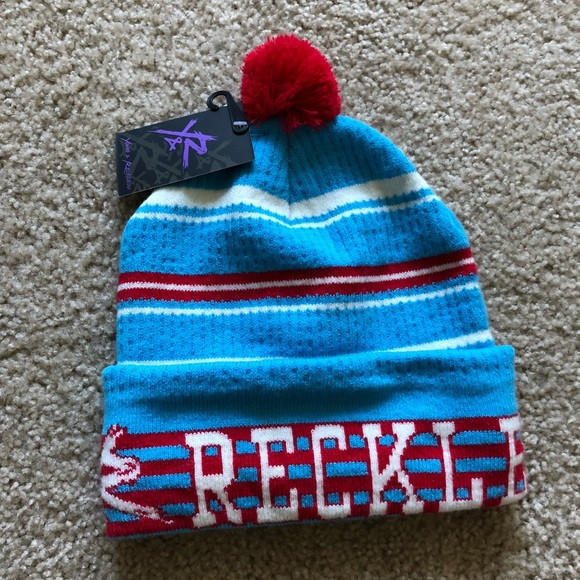 Young and reckless beanie striped with red pom pom 1d4ece2755a